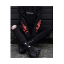 Chic Floral Rose Print Long Sleeve Letter ALMOST DEAD Front Black Loose Fit Hoodie