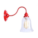 Red Finish Gooseneck Sconce Light with Clear Glass Shade Industrial Modern Wall Mount Fixture