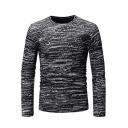 Unique Tie Dyed Cut Out Patchwork Long Sleeve Slim Fit T-Shirt for Men