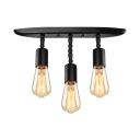 Industrial Vintage Semi-Flush Mount Ceiling Light in Black, Triple Light