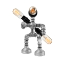 Industrial Fighting Robot Table Lamp in Silver Finish, 3 Lights 12'' Height