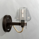 Mushroom Style Wall Sconce Modern Chic Clear Glass Single Head Wall Light Fixture in Black