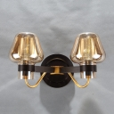 Amber Glass Mushroom Wall Light Designer Style 2 Light Decorative Wall Lamp for Sitting Room