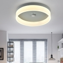 Gray/Green Circular Ring Flush Mount with Metal Base Nordic Style LED Ceiling Lamp for Restaurant