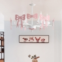 Candle Style Hanging Light with Bowknot Girls Bedroom Metallic 3/6 Lights Chandelier in Gray/Pink