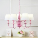 White Fabric Shade Cone Chandelier Macaron 5 Lights Suspension Light for Girls Bedroom