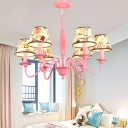 Pink Finish Conical Suspended Light Vintage Fabric Shade 3/6 Lights Accent Chandelier Lamp