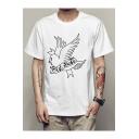 Crying Bird Pattern Basic Short Sleeve White Casual Graphic T-Shirt