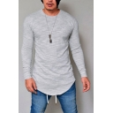 Men's Plain Round Neck Long Sleeve Round Hem Fitted T-Shirt
