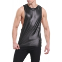 Men's New Fashion Faux Leather Round Neck Breathable Running Low Cut Tank Top