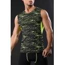Guys Summer Stylish Printed Sleeveless Quick-Dry Gym Workout Slim Fit Tank Top