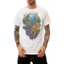 Summer Creative Cartoon Octopus Print Men's Short Sleeve White T-Shirt