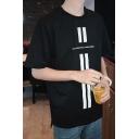 Basic Round Neck Short Sleeve Cotton Loose Graphic T-Shirt