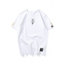 Street Style Cool Letter UP Printed Loose Leisure Unisex T-Shirt