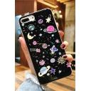 Stylish Cartoon Galaxy Planet Printed Silicone iPhone Case