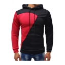 Unique Colorblock Patchwork Long Sleeve Slim Fit Drawstring Hoodie for Men