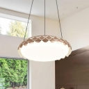 Champagne Gold Round LED Hanging Light Fixture Simple Style Restaurant Acrylic Pendant