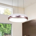 Champagne Gold Circular Chandelier Modern Acrylic and Iron Hanging Pendant Lamp in Warm/White Light