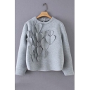 Round Neck Long Sleeve Heart Embellished Gray Pullover Sweatshirt