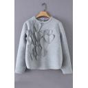 Round Neck Long Sleeve Heart Embellished Gray Pullover Sweatshirt