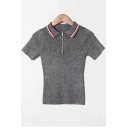 Trendy Contrast Striped Collar Half-Zip Short Sleeve Slim Fitted Knit Polo T-Shirt
