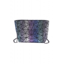 Glaring Geometric Colorblock Chic Purse Purple Colorful Sequined Shoulder Bag