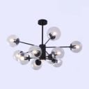 Post Modern Modo Hanging Light Metal 10 Light Chandelier Light in Black for Sitting Room