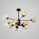 Multi Light Globe Hanging Lamp Designers Style Cognac Glass LED Chandelier in Black
