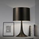 Concise Modern Cylinder Table Light Metal Desk Light in Black for Living Room
