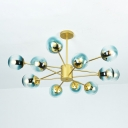 Multi Light Ball Chandelier Light Designers Style Blue Faded Glass Hanging Light