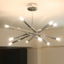 Multi Light Rod Star Suspension Light Modernism Chandelier Light with Adjustable Stem