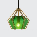 Diamond Suspension Light Modern Fashion Green Glass Creative Art Deco Drop Light