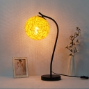 Curved Arm Night Light Modern Hand Made Desk Lamp with Metal Base for Study Room