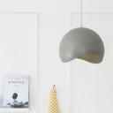Aluminum Half Round Pendant Lamp Minimalist Hanging Light in Gray for Kitchen Balcony