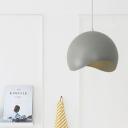 Aluminum Half Round Pendant Lamp Minimalist Hanging Light in Gray for Kitchen Balcony