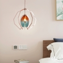 Faded Glass Oval Shade Pendant Lighting One Light Art Deco Modern Light Fixture in Rose Gold