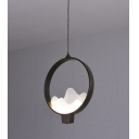 Mountain View Pendant Light Nordic Style Wrought Iron LED Suspension Lamp in Black for Restaurant