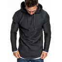 Men's New Trendy Contrast Trim Patchwork Long Sleeve Pullover Regular Fitted Drawstring Hoodie