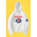 New Arrival Men's Fashion Chic Logo NASA Print Long Sleeve Relaxed Casual Hoodie