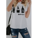 Bottle Letter Printed Short Sleeve Round Neck White Fitted Tee