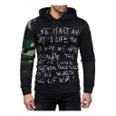 Trendy Unique Letter Print Camouflage Long Sleeve Colorblock Slim Fitted Hoodie