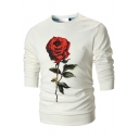 Men's Chic 3D Rose Floral Printed Crew Neck Pullover Fitted Sweatshirt