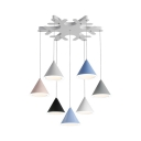 Cone Cluster Pendant Lamp Nordic Modern Metal 5 Light/7 Light LED Drop Light in Multi Color