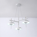 3 Lights Umbrella Suspension Light Modern Fashion Metallic Hanging Lamp in White for Bedroom