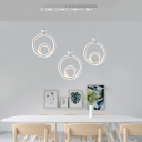 Twist LED Suspended Light Concise Silicon Gel Triple Light Cluster Pendant Light in White