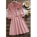 Funny Bunny Embroidered Long Sleeve Lapel Collar Button Drawstring Waist Mini Shirt Dress