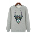 Teenagers Fashion Cartoon Glasses Elk Printed Crew Neck Pullover Sports Sweatshirt