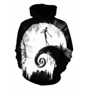 Stylish Black 3D Skull Figure Printed Regular Fitted Warm Pullover Hoodie