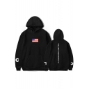 Unique Vertical Letter HELLO BITCH Print American Flag Front Relaxed Pullover Hoodie
