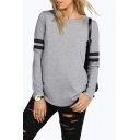 Basic Round Neck Striped Long Sleeve Loose Fitted Pullover T-Shirt